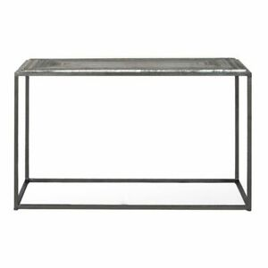 """48"""" L Console Table Charcoal Grey Solid Marble Stone Industrial Iron Frame"""
