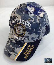 US Navy RETIRED Ball Cap BLUE DIGITAL CAMO USN Vet Chief PO1 CPO SCPO MCPO Hat