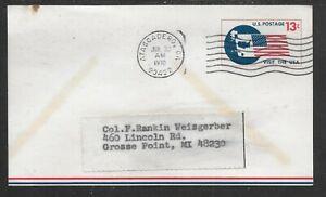 US;1970; AIRPOST POSTAL CARD, USED; 13c; ATASCADERO,CA.  cancel; Sc # UXC8