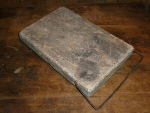 ANTIQUE OLD CARRIAGE BUGGY FOOTSTONE SOAPSTONE FOOT WARMER WARMING STONE -HANDLE