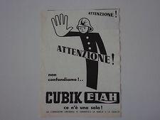 advertising Pubblicità 1949 CUBIK ELAH