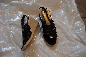 womens alex marie black fabric & leather strappy wedge heels shoes size 7