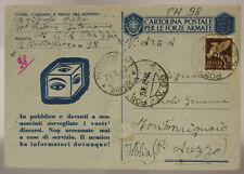 POSTA MILITARE n. 98 15.6.1943 (P.3) FRANCOBOLLO CON STAMPATO P.M.  ALBANIA XP63