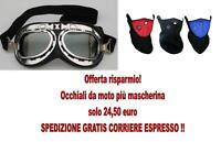 OCCHIALI MOTO CUSTOM SCOOTER CHOPPER + MASCHERINA SCALDACOLLO SOTTOCASCO