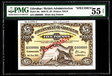 Gibraltar 1971 5 Pounds P. 19 - 19s SPECIMEN Note PMG 55 AU NET RARE