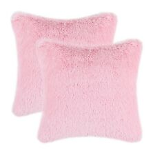2Pcs Baby Pink Pillows Shells Cases Cushion Covers Plush Faux Fur Fleece 18x18""