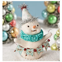 "Bethany Lowe 6"" Mr Jingles Glitter Snowman Christmas Retro Vntg Decor Figurine"