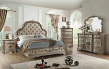 Champagne Finish & Leatherette Marble Bedroom Furniture - 5pcs Queen Bed Set AAR