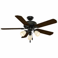 Casablanca Ainsworth 54 Inch Indoor Ceiling Fan w/ Light Kit & Pull Chain, Black