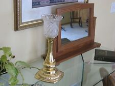 Table, mantle or dresser top mirror 17' tall pivoting mirror oak/w golden finish