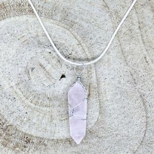 "Rose Quartz Crystal Point Pendant 30mm with 20"" Silver Necklace Love Healing"