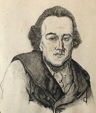 Moses Mendelssohn dessin encre XIXe anonyme écrivain Philosophe Deutschland