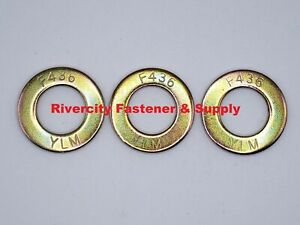 (10)  3/4 F436 SAE Grade 8 Yellow Zinc Hardened Flat Washers 3/4 ID x 1-7/16 OD