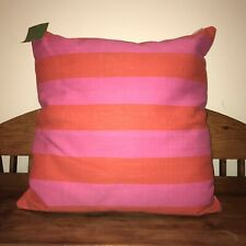 Kate Spade NY Double Stripe Maraschino Orange Pink XXL HUGE 32 x 32 Throw Pillow