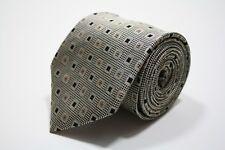 "Peacock Black Brown Square Geometric Print Silk Tie 3.5"""