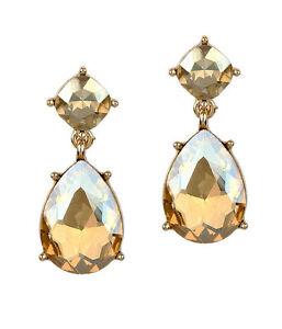 EARRING Teardrop Yellow Facet Glass Dangle Earrings Wedding Party Earring