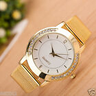 Fashion Women's Crystal Dial Stainless Steel Mesh Band Quartz Wrist Watches Gold