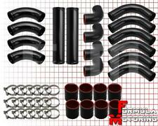 "Universal Fmic Turbo 2.5"" Aluminum Intercooler 12 Pc Piping Pipe Kit Black/Black"