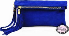 ladies royal blue suede tassel clutch bag