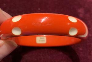 Vintage Red bangle bracelet carved oval dots