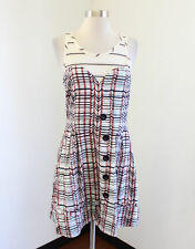 Marc by Marc Jacobs Layered Striped Printed Dress Size 4 Sweetheart Beige Red