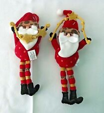 Country Santa Folk Art Ornament Christmas Claus Whimsical Dots Stripes Stars 2
