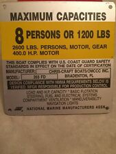 OMC Chris Craft 265 FD Boat Capacity Plate~Tag~8 Persons or 1200 Lbs