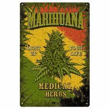 Marijuana Leaf Metal Tin Sign Cannabis Weed Iron Painting Wall Art Poster