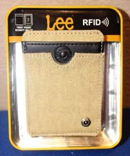LEE RFID BLOCKING SECURITY BIFOLD FRONT POCKET SECURITY WALLET KHAKI CANVAS nw