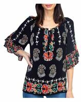 Womens BILA  Black Floral Tunic Blouse Shirt Sz Medium