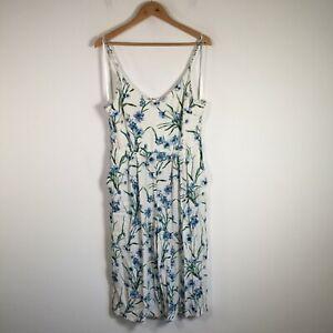 Forever New womens jumpsuit size 16 white floral sleeveless V neck viscose