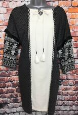 WHITE STUFF 14 Black Cream Aztec Block Print Tassel Trim 3/4 Sleeve Tunic Dress