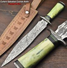 Rare!!! Custom HandMade Damascus Steel Blade Dagger Knife   Camel Bone