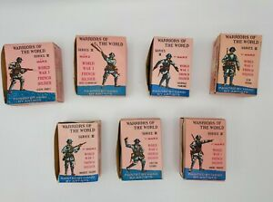 Marx Warriors of the World WW1 French Soldiers - Lot of 7 With Cards and Boxes