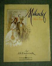 Antique Milady Three Step Sheet Music 1916 Beautiful Artwork  JS Zamecnik