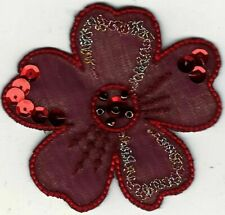 """2 1/2"""" Red Burgundy flower bead and sequin accents patch"""