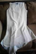 Eileen Fisher Cream Sleeveless Angled Silk Crepe Dress Size M