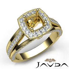 Pave Cushion Diamond Semi Mount Engagement Millgrain Ring 14k Yellow Gold 0.90Ct