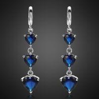 Modeschmuck Damen 18K Weissgold Vergoldet Blau Saphir Herzschliff Ohrringe