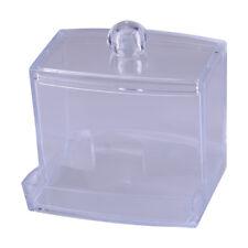 Clear White Makeup Cotton Swabs Stick Holder Case Storage Organizer Station Box