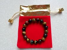 "New 10 MM Blue Yellow Red Tiger's Eye Gemstone Round Beads Bracelet 7.2"""