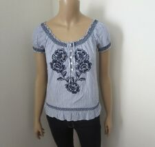 Hollister Womens Striped Peasant Floral Embriodered Top Shirt Size XS Blouse