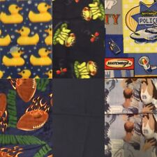 Boys Fleece Fabric Lot of 6 - Football, Basketball, Matchbox, Frogs, Duck, Black