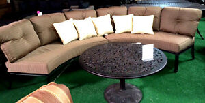 Half moon sofa deep seating outdoor furniture 3pc with table curved bench Bronze