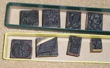 Vtg Boxed 8pc Holiday Wood Block Ink Stamp Santa Turkey Lincoln Flag Pumpkin