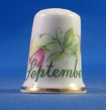 Birchcroft China Thimble -- Flower of  Month September with Free Dome Gift Box