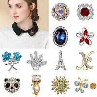 Fashion Flower Butterfly Crystal Brooch Pin Collar Women Jewelry Wedding Gift