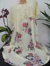 Damen Kleid Größe 46 48 50 52 54 Übergröße Kleider Maxikleid Blumen Spitze 129C