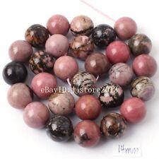 "14mm Natural Rhodonite Jasper Round Shape DIY Gemstone Loose Beads Strand 15"""