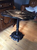Victorian Black Lacquer Country House Papier Mache Snap Top Table Barn Find